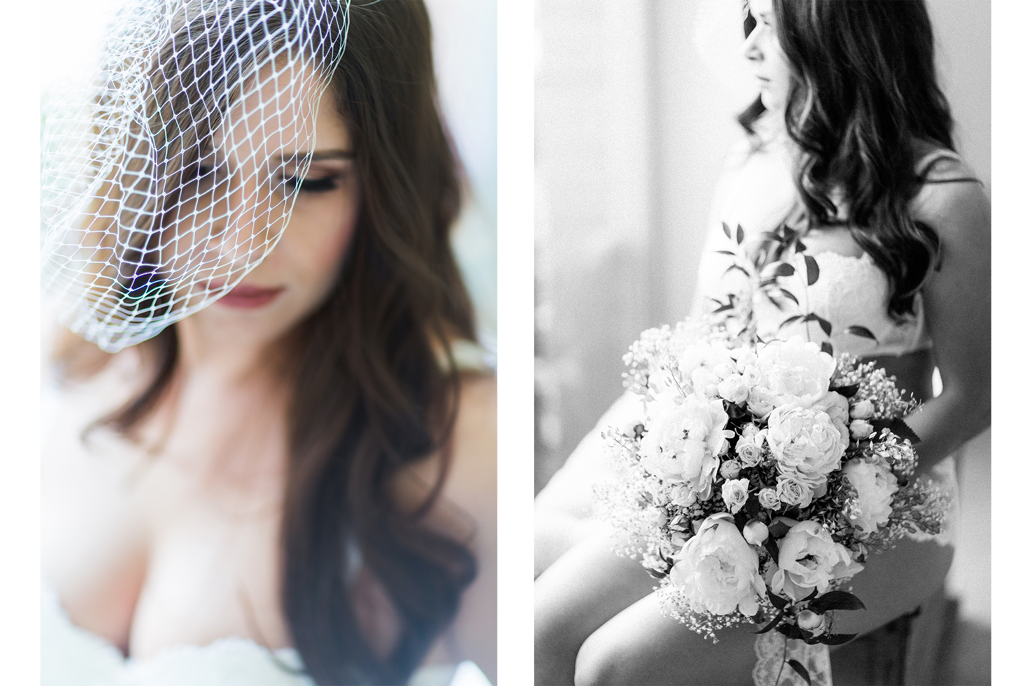 Wunderschöne Bridal Boudoir-Shooting-Inspiration mit brünetter Schönheit als Geschenk für den zukünftigen Ehemann in weißen Dessous mit Blumen.