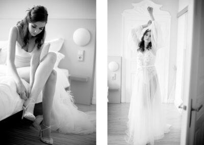 Sinnliche Braut-Boudoir-Fotografie in schwarz-weiß mit weißer Unterwäsche.