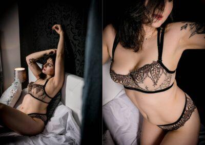 Sinnliche Aufnahmen einer dunkelhaarigen Frau in Dessous auf dem Bett