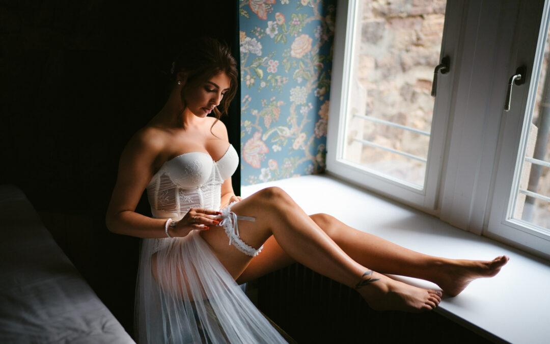 Braut-Boudoir im Hotelzimmer